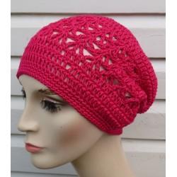 Häkelmütze Sommer luftig und leicht für Damen in Pink aus Baumwolle gehäkelt. Mit zauberhaftem Muster. Farben, KU 54 - 62 cm