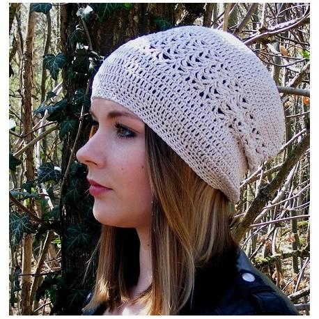 Sommermütze Damen Beanie Beige mit Muster aus Baumwolle gehäkelt. Wunderschön. 18 Farben, KU 54-62 cm