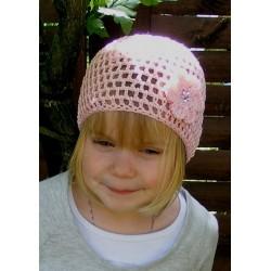 Sommermütze Kinder Mädchen Rosa romantisch aus Baumwolle gehäkelt. Handmade. Farbe, KU 39-55 cm