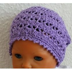 Sommermütze Kinder gehäkelt aus Baumwolle Flieder mit tollem Muster. Handmade als Long Beanie. KU 42-55