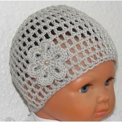 Baby Mütze Sommer Grau mit Blume aus Baumwolle gehäkelt. Handmade. Farbe, KU 42-55 nach Wunsch