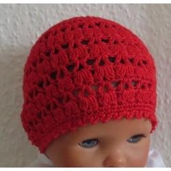 Häkelmütze Kinder Mädchen Rot Sommer als Beanie aus Baumwolle. Handmade. Farbe, KU 42-55 nach Wunsch