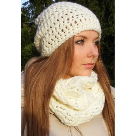 Mütze Schal Set Damen Beige Creme mit Long Beanie gehäkelt. Handmade. Viele Farben, KU 54-62 cm nach Wunsch