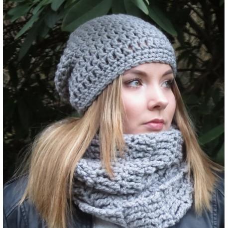 Beanie Mütze Schal Set Damen in Grau aus Wolle gehäkelt. Handarbeit mit Long Haube. Viele Farben, KU 54-62 cm