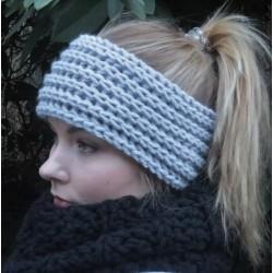 Stirnband Damen Grau Winter gestrickt mit Patentmuster. Handarbeit. Farbe, KU 54-62 cm nach Wunsch
