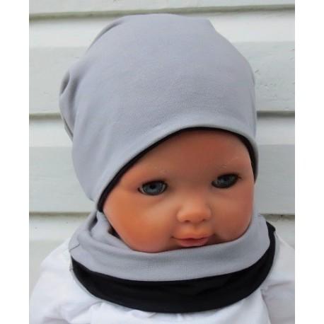 Winterset Junge cool Grau Schwarz zum Wenden aus Jersey genäht. Handarbeit mit Long Beanie. Farbe, KU 39-55