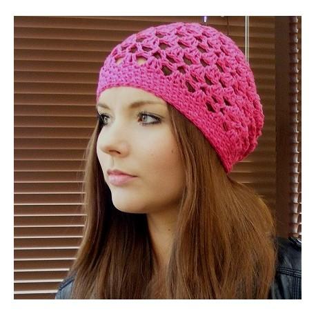 Sommermütze Damen Beanie Pink aus Sommergarn gehäkelt. Liebevolle Handarbeit. Farbe, KU 54-62 nach Wunsch