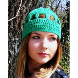 Sommermütze Damen Grün aus Baumwolle gehäkelt. Liebevolle Handarbeit. Farbe, KU 54-62 nach Wunsch