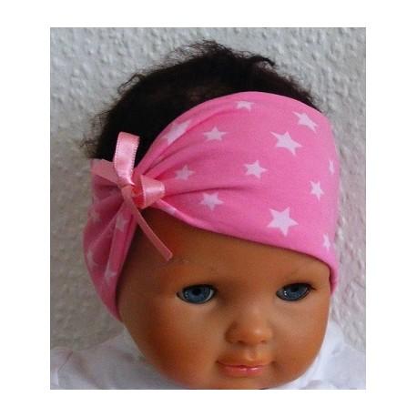 Stirnband Baby Jersey Sterne für Mädchen genäht. Auch ohne Schleife. Farbe, KU 36-55 nach Wunsch