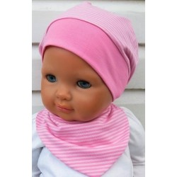 Sommermütze Mädchen Set mit Dreieckstuch Rosa geringelt aus Jersey genäht. Partnerlook für Jungs im Shop. KU 39-55