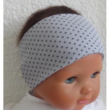 Haarband Kleinkind Punkte Sommer Grau aus Jersey genäht. Süss für Kinder. Farbe, KU 36-55