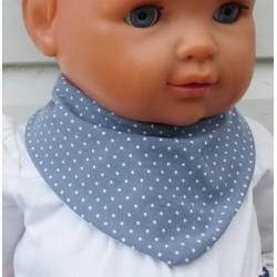 Halstuch Kinder Baby Mädchen Sommer Jersey Grau Weiß Punkte genäht. Zum Wenden. Farbe, Größe 0-8 Jahre