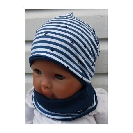 Beanie Mütze Baby Junge Set gestreift zum Wenden aus Jersey genäht. Toll für Kinder. Farbe, KU 39-55 nach Wunsch