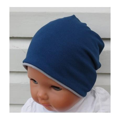 Beanie Mütze Kinder Jungen cool Blau Grau zum Wenden aus Jersey genäht. Modisch als Long. Farben, KU 39-55 cm
