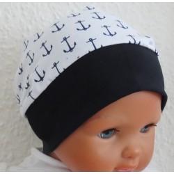 Beanie Mütze Jungen Baby Kinder Anker Weiß aus Jersey genäht. Cool für den Sommer. KU 39-55 nach Wunsch.