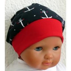 Sommermütze Baby Junge Maritim mit Anker genäht. Toll als Beanie. Bundfarbe gerne nach Wunsch. KU 39-55 cm