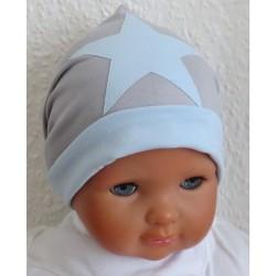 Sommermütze Baby Junge Grau Blau mit Stern aus Jersey genäht. Modisch als Long Beanie für Kids. Farbe, KU 39-55