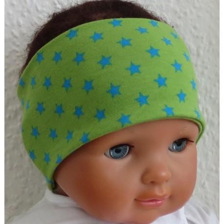 Stirnband Baby Junge Grün mit Sternen in Blau aus Jersey genäht. Toll zum Wenden. KU 36-55 nach Wunsch