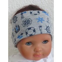 Haarband Junge Grau mit Anker aus Jersey genäht. Klasse zum Wenden für Kinder. KU 36-55 nach Wunsch