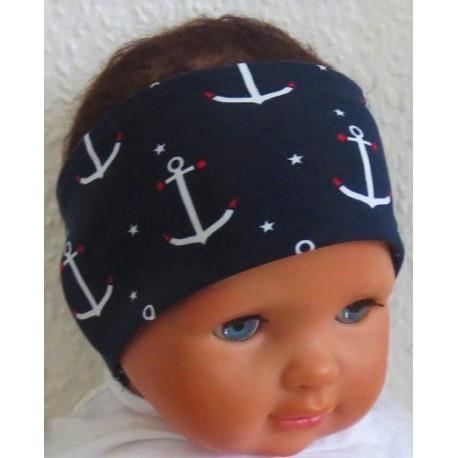 Stirnband Junge Baby aus Jersey mit Anker genäht. Klasse für den Sommer zum Wenden. KU 36-55 nach Wunsch