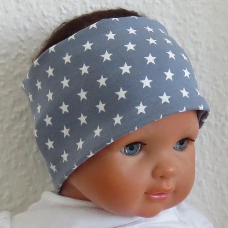 Stirnband Junge Sommer Sterne Grau Weiß aus Jersey genäht. Toll zum Wenden. Partnerlook im Shop. KU 36-55