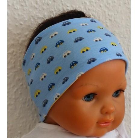Baby Stirnband Baumwolle Jersey mit Autos genäht. Klasse zum Wenden für Jungs. Farbe, KU 36-55 nach Wunsch.