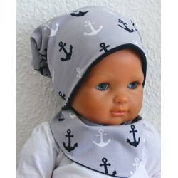 Mütze Schal Set Kinder Junge Sommer Maritim mit Anker aus Jersey genäht. Beides zum Wenden. KU 39-55