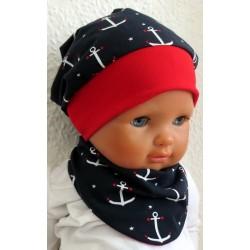 Sommermütze Baby Junge Set Maritim mit Anker und Sternchen genäht. Cool für Kids. Farbe, KU 39-55 nach Wunsch