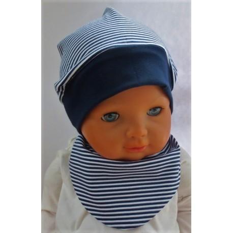 Sommermütze Baby Junge Set mit Dreieckstuch gestreift aus Jersey genäht. Mit Beanie. Farbe, KU 39-55 nach Wunsch
