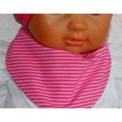 Dreieckstuch Baby Mädchen Pink gestreift aus Jersey genäht. Zum Wenden. Farbe, Größe 0-6/8 Jahre nach Wunsch