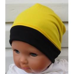 Beanie Mütze Kinder Schwarz Gelb Junge aus Jersey genäht. Cool als Long auch mit Fleece. Farbe, KU 39-55 nach Wunsch