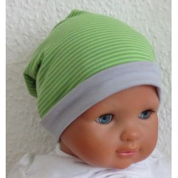 Beanie Mütze Junge Grün Grau mit Streifen aus Jersey genäht. Cool als Long auch mit Fleece. Farbe, KU 39-55 nach Wunsch