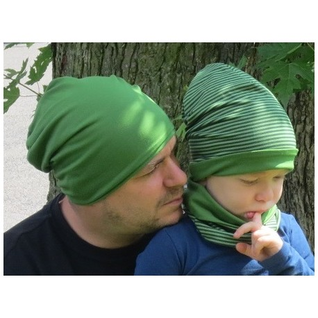 Beanie Mütze Kinder für Jungen Grün Oliv aus Jersey genäht. Cool als Long. Partnerlook im Shop. KU 39-55 nach Wunsch