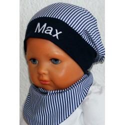 Sommermütze Kinder Name bestickt aus Jersey Blau Weiß mit Streifen genäht. Klasse für Jungs. Farbe, KU 39-55 cm