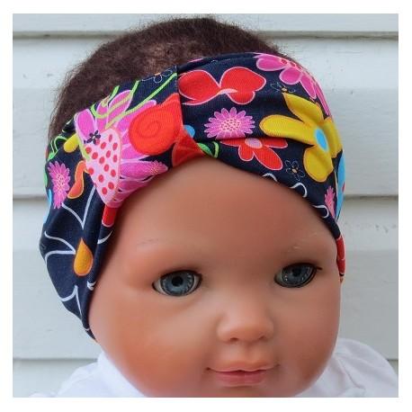 Stirnband Kinder Sommer Mädchen Bunt mit Blumen aus Jersey genäht. Partnerlook für Damen im Shop. KU 36-55 cm