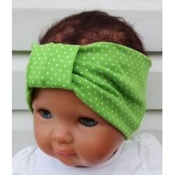 Haarband Baby Mädchen Sommer aus Jersey mit Pünktchen Grün Weiß genäht. Partnerlook für Damen im Shop. KU 36-55