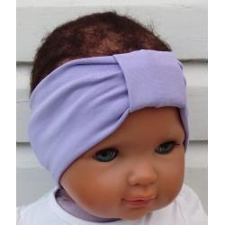 Haarband Mädchen Baby Sommer Flieder mit Mittelteil Turban aus Jersey genäht. Partnerlook für Damen im Shop. KU 36-55