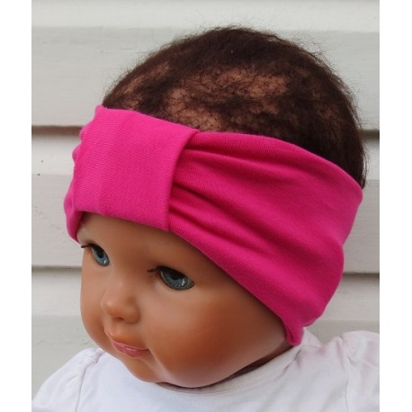 Stirnband Baby Mädchen Sommer Pink mit Mittelteil Turban aus Jersey genäht. Partnerlook für Damen im Shop. KU 36-55