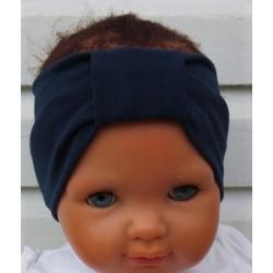 Stirnband Mädchen Baby Sommer Blau mit Mittelteil Turban aus Jersey genäht. Partnerlook für Damen im Shop. KU 36-55