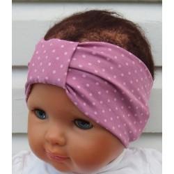 Stirnband Baby Turban Mädchen Sommer Altrosa mit Punkten aus Jersey genäht. Damen Partnerlook im Shop. KU 36-55