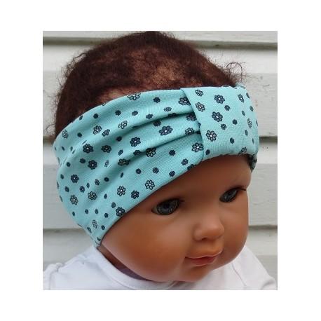 Haarband Baby Blume Mädchen Mint aus Jersey genäht. Ein Halstuch, Beanie im Shop. KU 36-55 cm