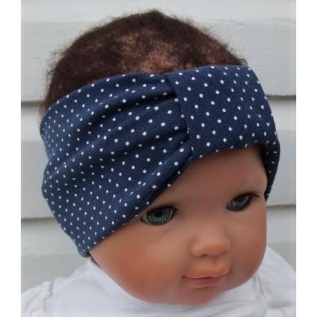 Stirnband Baby Sommer Mädchen Blau mit Punkten aus Jersey genäht. Damen Partnerlook im Shop. Farbe, KU 36-55 cm