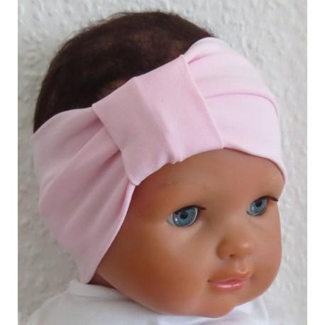 Haarband Baby Mädchen aus Jersey in zartem Rosa genäht. Ein Tuch, eine Long Beanie im Shop. Farbe, KU 36-55 cm