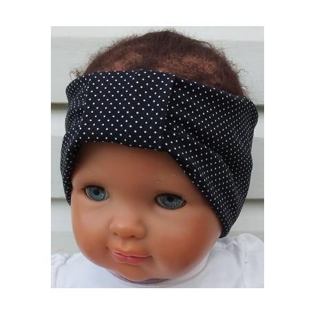 Haarband Mädchen Baby Sommer aus Jersey mit Pünktchen Schwarz Weiß genäht. Damen Partnerlook im Shop. KU 36-55