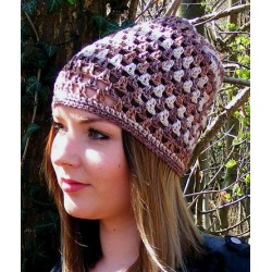 Sommermütze Damen Color Beige Braun aus Baumwolle gehäkelt. Wunderbar als Long Beanie 10 Farben, KU 54 - 62
