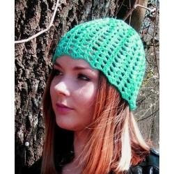 Sommermütze Damen Grün mit Muster aus Baumwolle gehäkelt. Das Muster ist bezaubernd. Viele Farben, KU 54 - 62 cm