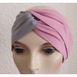 Haarband Turban Knoten Grau Altrosa Sommer aus Jersey genäht. Zauberhaft für Damen. Farben, KU 54-62 cm