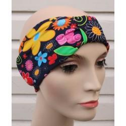 Stirnband Damen Jersey Bunt auch für den Partnerlook mit Blumen genäht. Modisch aktuell. Handarbeit. KU 54-62 cm