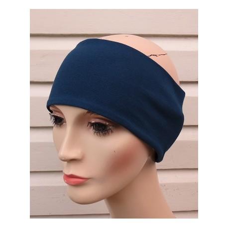 Stirnband Ohrwärmer Damen Blau aus Jersey zum Wenden genäht. Partnerlook im Shop. Viele Farben, KU 54-62 cm