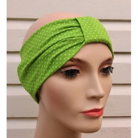 Haarband Damen dünn Turban Grün Weiß gepunktet Sommer aus Jersey genäht. Partnerlook im Shop. Farbe, KU 54-62 cm